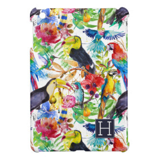 Colorful Watercolor Parrots | Add Your Initial iPad Mini Cover