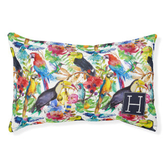 Colorful Watercolor Parrots | Add Your Initial Small Dog Bed