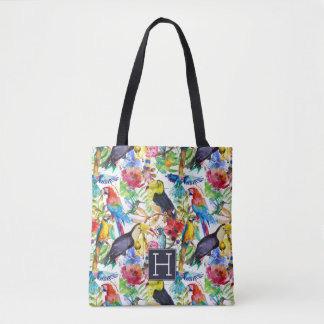 Colorful Watercolor Parrots | Add Your Initial Tote Bag