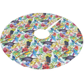 Colorful Watercolor Parrots Brushed Polyester Tree Skirt