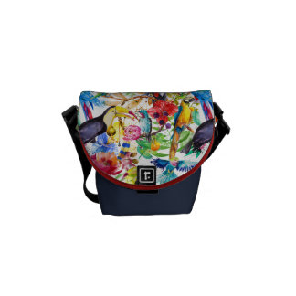Colorful Watercolor Parrots Commuter Bags
