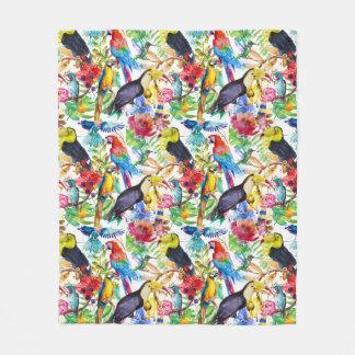 Colorful Watercolor Parrots Fleece Blanket