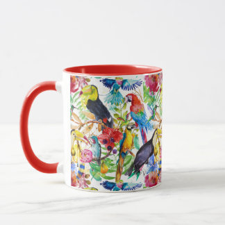 Colorful Watercolor Parrots Mug