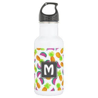 colorful watercolor pineapple watermelon pattern 532 ml water bottle