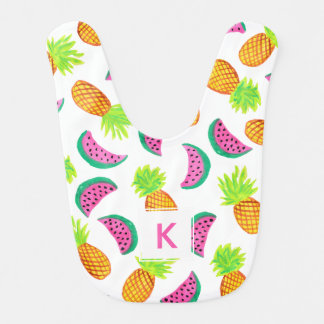 colorful watercolor pineapple watermelon pattern bib
