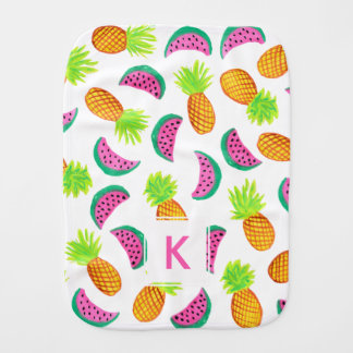 colorful watercolor pineapple watermelon pattern burp cloth