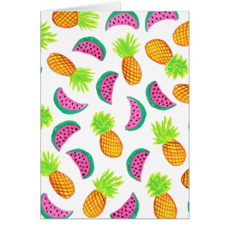 colorful watercolor pineapple watermelon pattern card