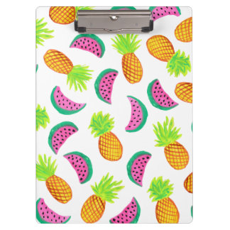 colorful watercolor pineapple watermelon pattern clipboard