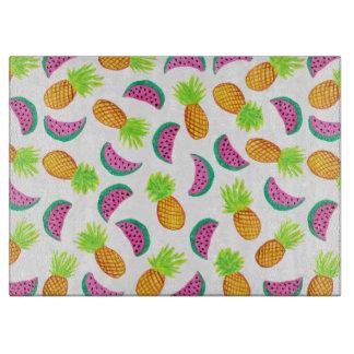 colorful watercolor pineapple watermelon pattern cutting board