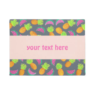 colorful watercolor pineapple watermelon pattern doormat