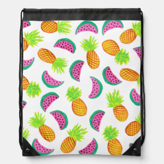 colorful watercolor pineapple watermelon pattern drawstring bag