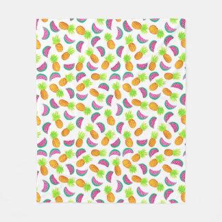 colorful watercolor pineapple watermelon pattern fleece blanket