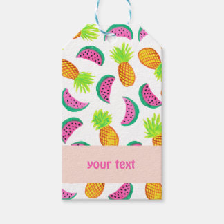 colorful watercolor pineapple watermelon pattern gift tags
