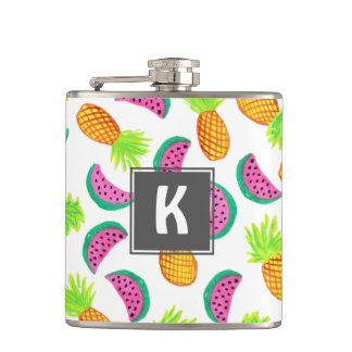 colorful watercolor pineapple watermelon pattern hip flask