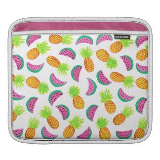 colorful watercolor pineapple watermelon pattern iPad sleeve