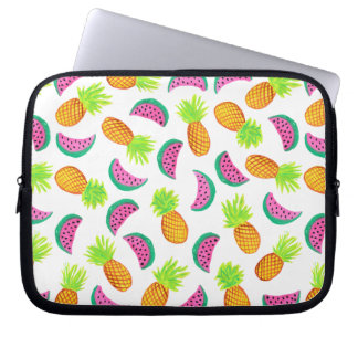 colorful watercolor pineapple watermelon pattern laptop sleeve