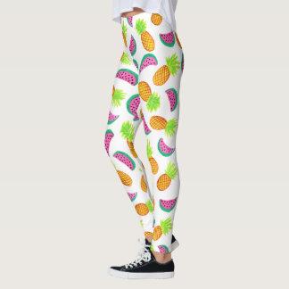 colorful watercolor pineapple watermelon pattern leggings
