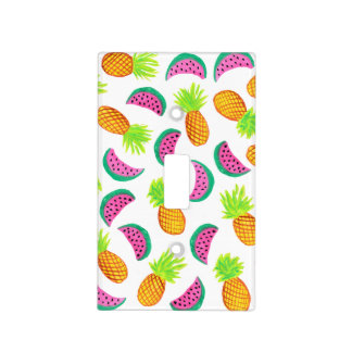colorful watercolor pineapple watermelon pattern light switch cover