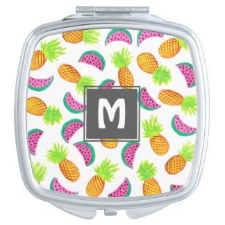 colorful watercolor pineapple watermelon pattern mirror for makeup