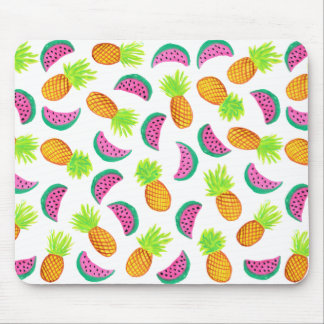 colorful watercolor pineapple watermelon pattern mouse pad
