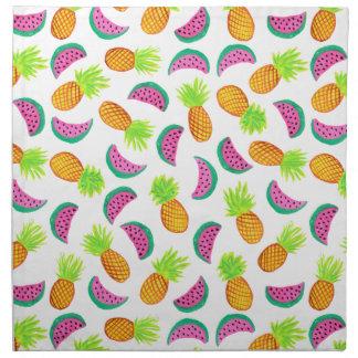 colorful watercolor pineapple watermelon pattern napkin