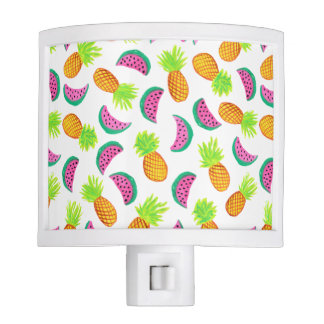 colorful watercolor pineapple watermelon pattern nite lights