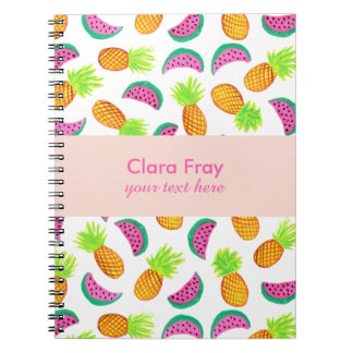 colorful watercolor pineapple watermelon pattern notebook