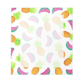 colorful watercolor pineapple watermelon pattern notepad