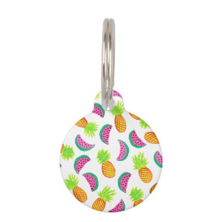 colorful watercolor pineapple watermelon pattern pet ID tag