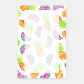 colorful watercolor pineapple watermelon pattern post-it notes