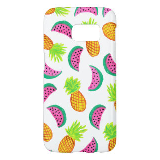 colorful watercolor pineapple watermelon pattern samsung galaxy s7 case