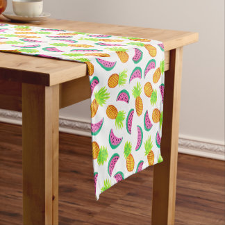 colorful watercolor pineapple watermelon pattern short table runner