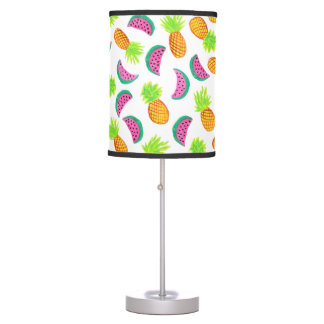 colorful watercolor pineapple watermelon pattern table lamp