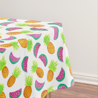 colorful watercolor pineapple watermelon pattern tablecloth