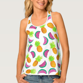 colorful watercolor pineapple watermelon pattern tank top