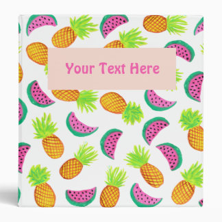 colorful watercolor pineapple watermelon pattern vinyl binders