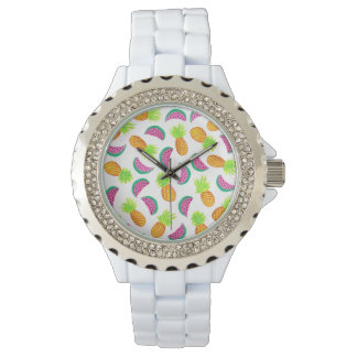 colorful watercolor pineapple watermelon pattern watches