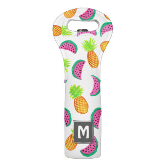 colorful watercolor pineapple watermelon pattern wine bag