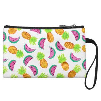 colorful watercolor pineapple watermelon pattern wristlet