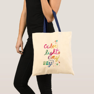 Colorful Watercolor Rainbow Brush Script Artistic Tote Bag