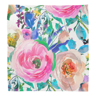 Colorful Watercolor Roses Bandana