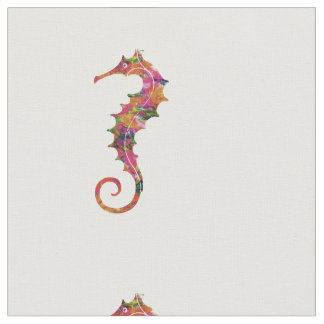 Colorful watercolor seahorse fabric