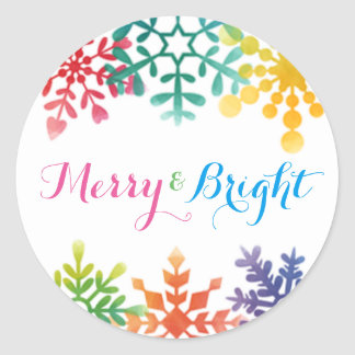 Colorful Watercolor Snowflake Christmas Sticker
