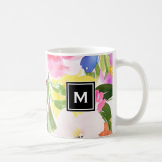 Colorful Watercolor Spring Blooms Floral Monogram Coffee Mug