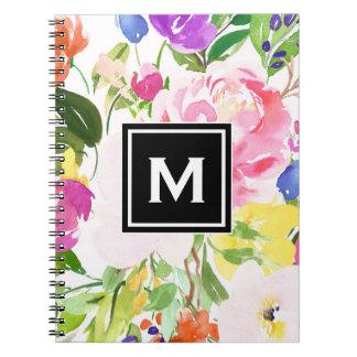 Colorful Watercolor Spring Blooms Floral Monogram Notebook