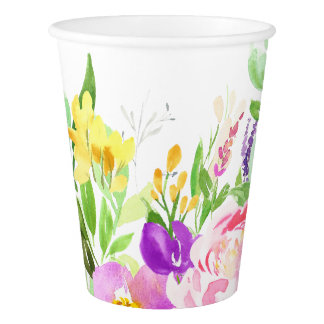Colorful Watercolor Spring Blooms Floral Paper Cup
