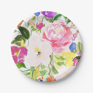Colorful Watercolor Spring Blooms Floral Paper Plate