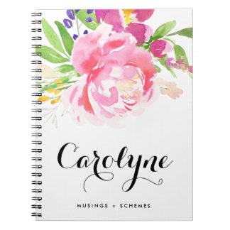 Colorful Watercolor Spring Floral Posy Custom Spiral Notebook