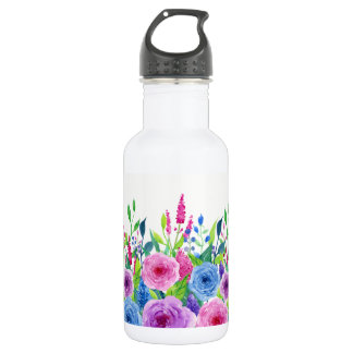 Colorful Watercolor Spring Flowers 532 Ml Water Bottle