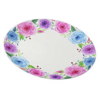 Colorful Watercolor Spring Flowers Plate